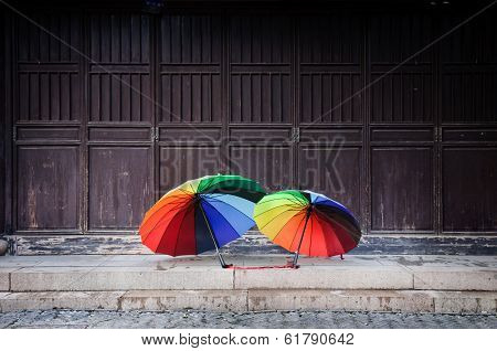 Rainbow Umbrellas In The Old Town Of Suzhou, China