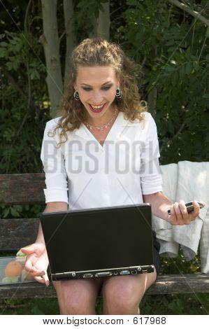 Pretty Businesswoman In The Park