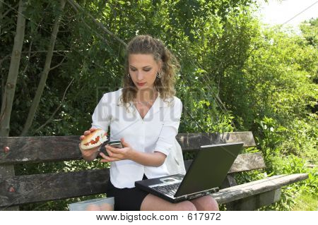 Businesswoman In The Park; Healthy Lunch