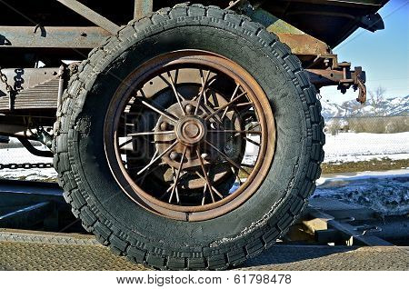 Rim and Tire of an Old Truck