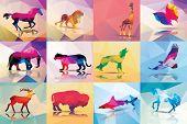 Collection of geometric polygon animals, horse, lion, butterfly, eagle, buffalo, shark, wolf, giraffe, elephant, deer, leopard, patter design, vector illustration poster