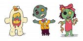 A happy (happy-ish?) family of zombies. Brother and Sister zombie with pet monster. poster