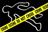 A typical CRIME SCENE DO NOT CROSS streamer set over chalk body outline on black poster