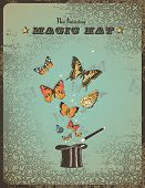 magic poster with hat, wand and butterflies poster