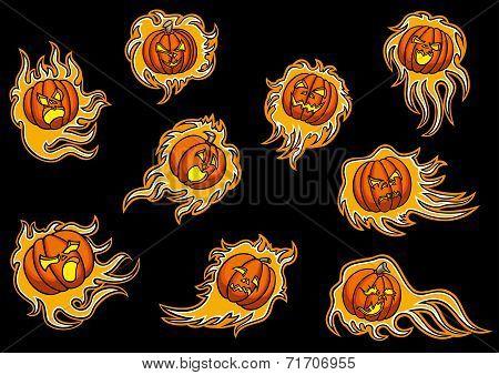 Set With Emblems Of Infernal Pumpkins