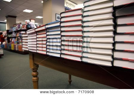 Stack Of Books In The Bookstore