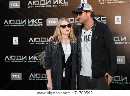 MOSCOW, RUSSIA, May, 13: Actress O.Akinshina with family. Premiere of the movie
