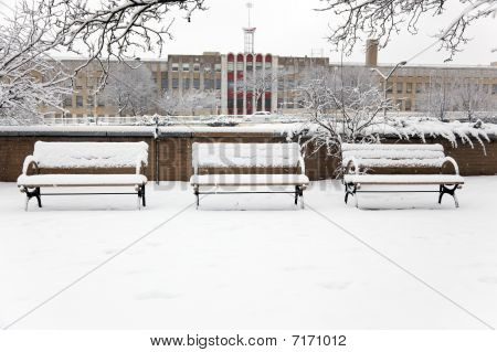 Three Snow-covered Benches