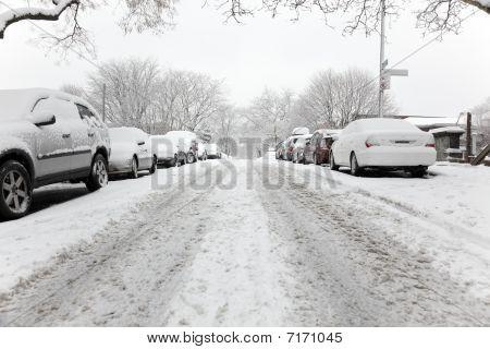 Brooklyn Street On A Snowy Day