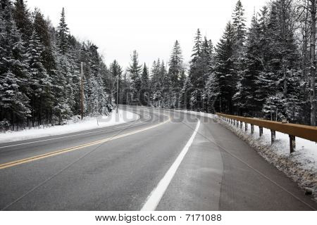 Curve In The Winter Road
