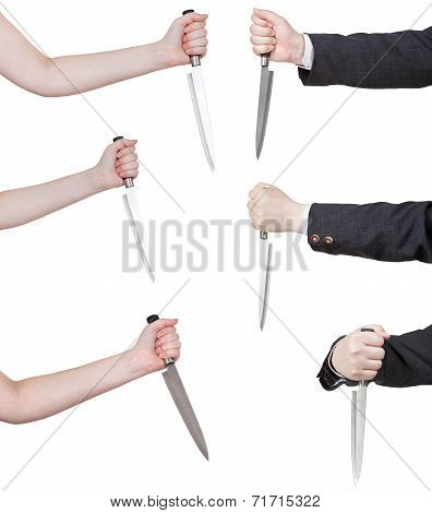 Set Of Hands With Knife