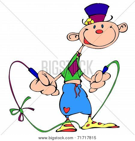 Cheerful clown with a skipping rope