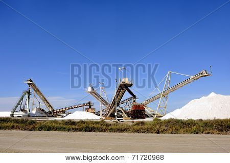 Site operating company saline Aigues-Mortes in the Camargue where stackers stack hills of sea salt. poster