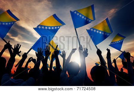 Silhouettes of People Holding Flag of Bosnia and Hercegovina