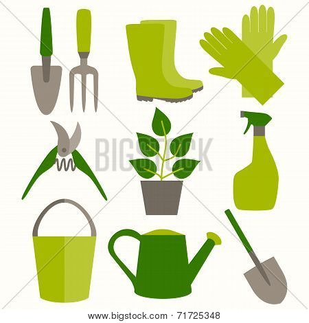 Flat design set of gardening tool icons isolated on white background.