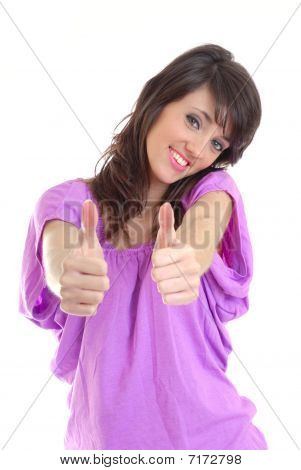 Pretty girl with thumbs up