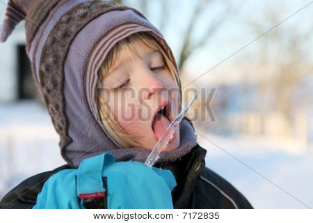 Child Icicle Winter Licking