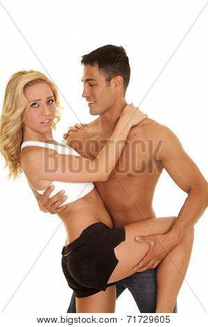 Couple Man No Shirt Dance Hold Her Leg Up To Side