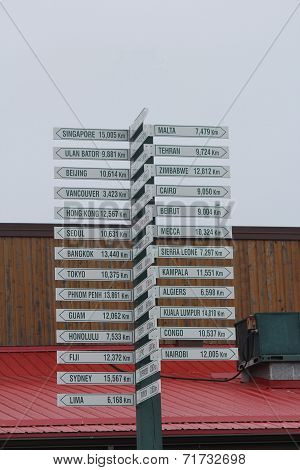 Direction, Distance, Destination Sign