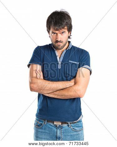 Sad Man Over Isolated White Background