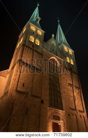 Illuminated church of the city of Deventer in the center of the Netherlands