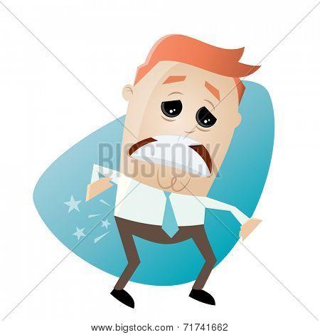 funny cartoon businessman has backache