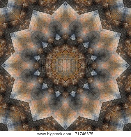 Old, rusted metal plate. Ornamental, artistic and detailed kaleidoscope illustration