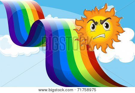 Illustration of a sun frowning near the rainbow