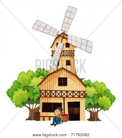 Illustration of a big wooden house with a windmill on a white background