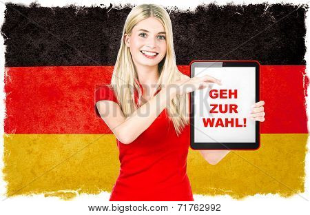 Young Woman With Tablet Pc And Germany Flag On Background