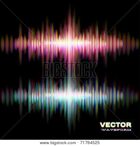 Shiny stereo sound waveform