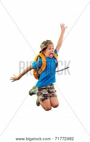 Worried Schoolchild With Backpack Hurrying Up