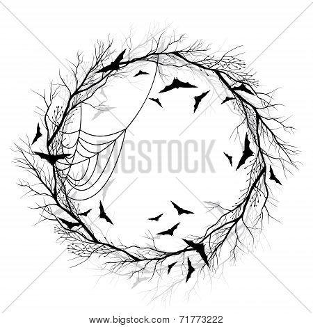 Vector Halloween wreath white background