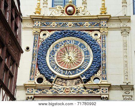 Renaissance Clock On Rue Du Gros Horloge, Rouen