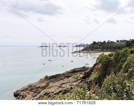 Rocky Coastline Of English Channel, Brittany