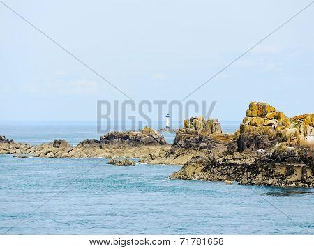Lighthouse Near Coastline English Channel Brittany