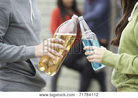 Close Up Of Teenage Group Drinking Alcohol Together
