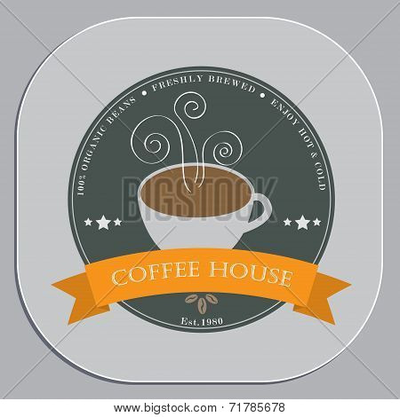 Coffee shop advertising design in coaster shape object