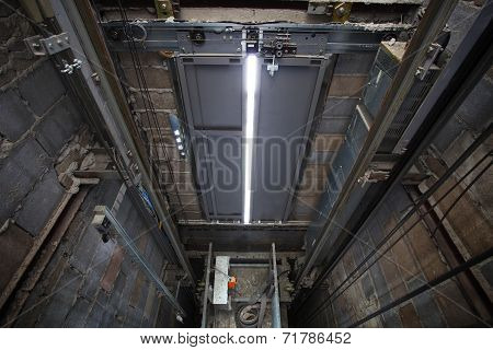 Inside Of Roping Elevator, Lift Box Builting In High Building Show Strong Structure Use For Engineer