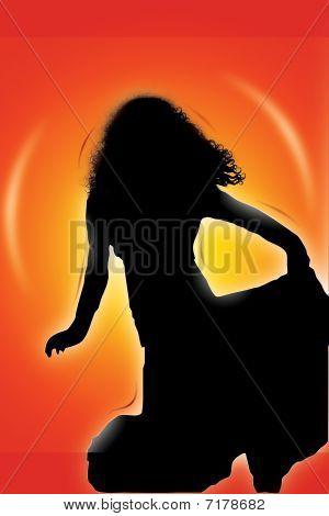 Girl Spinning Silhouette