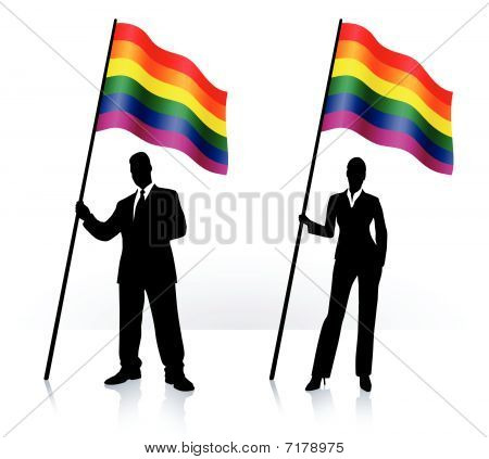 Business Silhouettes With Waving Flag Of Gay Pride