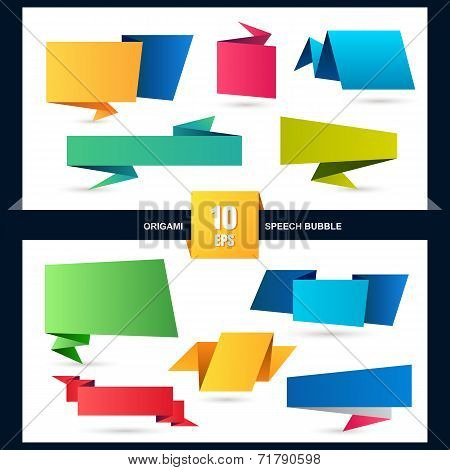 Abstract Origami Speech Bubble Set, Vector Background