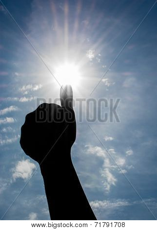 Thumbs Up and Bright Sun