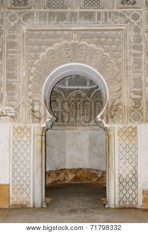 MARRAKESH, MOROCCO- AUGUST 24, 2014: Datail of The Ben Youssef Madrasa which is visited by tourists from world on 24 August 2014 in Marrakesh, Morocco. The Ben Youssef Madrasa was an Islamic college.
