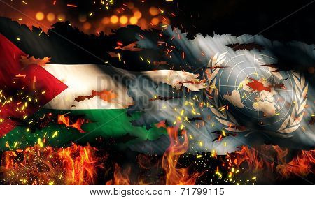 Palestine Un Flag War Torn Fire International Conflict 3D