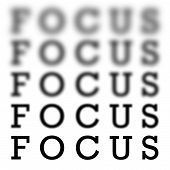 The word focus in 5 different variations of blurriness and sharpness isolated over white. poster