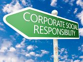Corporate Social Responsibility - street sign illustration in front of blue sky with clouds. poster