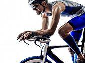 man triathlon iron man athlete biker cyclist bicycling biking in silhouette on white background poster