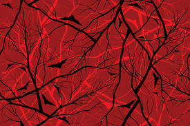 halloween red background grunge image of forest