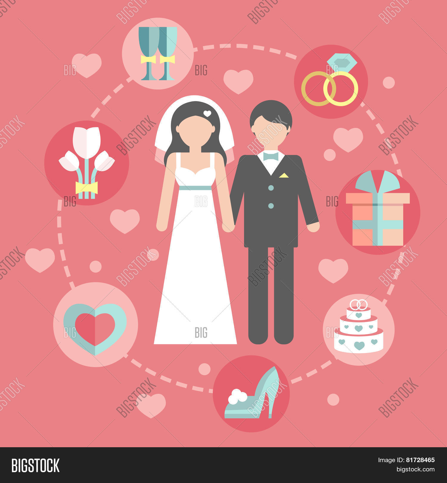 Wedding Infographic Set With Cartoon Bride And GroomWedding Day Coast Statistics Design Template